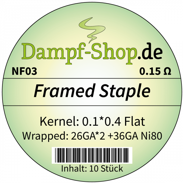 NF03 - 10x Ni80 Framed Staple - 0.1*0.4mm Flat + (0.4*2 + 0.12) - 0.15 Ohm